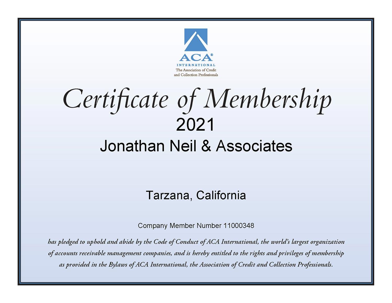 ACA Certificate of Membership