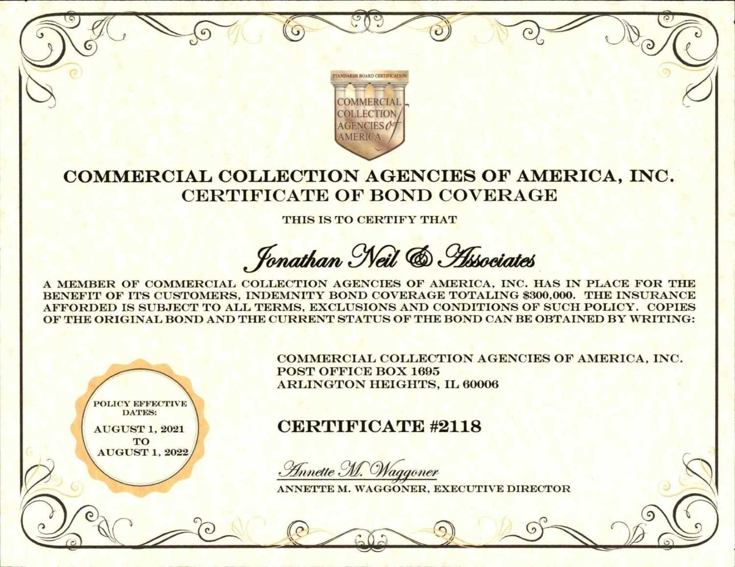 Commercial Collection Agencies of America, Inc., Certification of Accreditation and Compliance