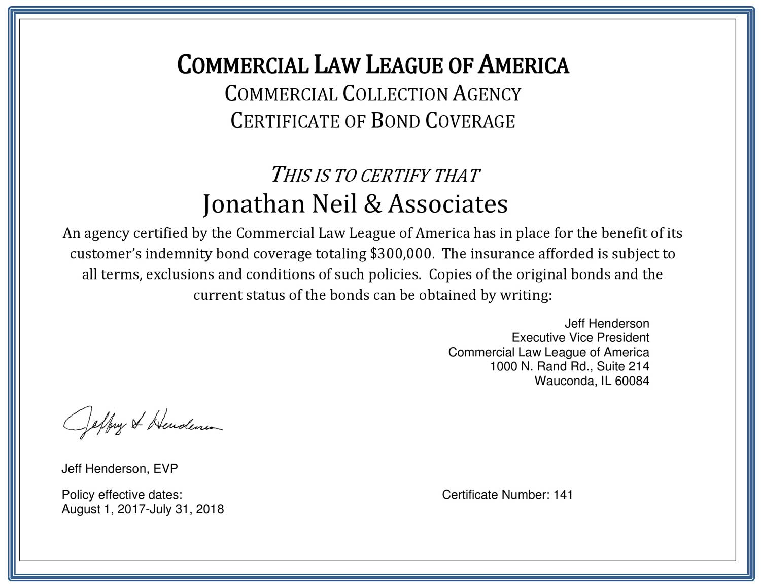 Commercial Law League of America, Certificate of Bond Coverage