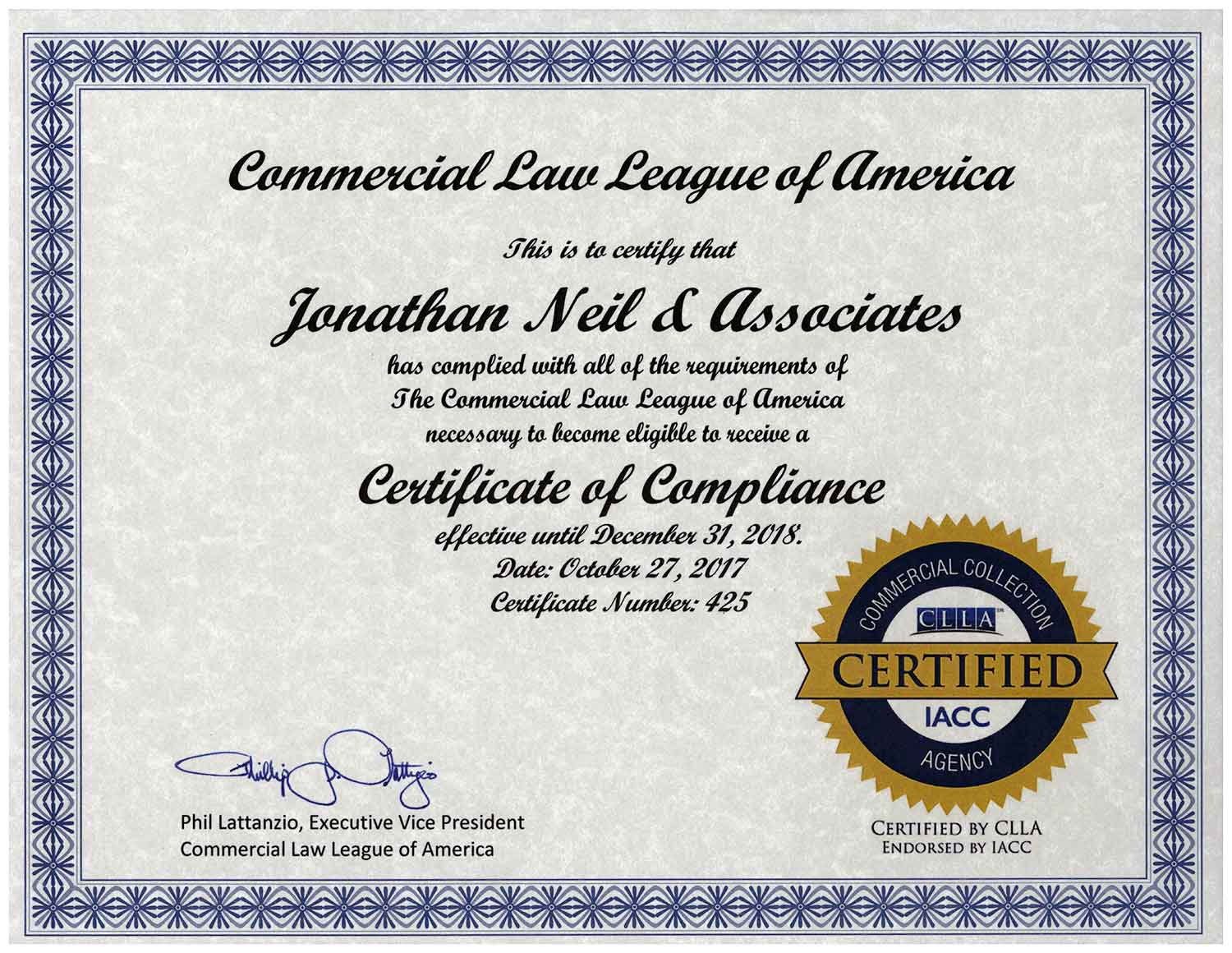 Commercial Law League of America, Certificate of Compliance